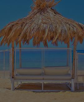Cabanas Bed in Beach Restaurant on Ios Island